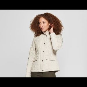 womens quilted jacket cream